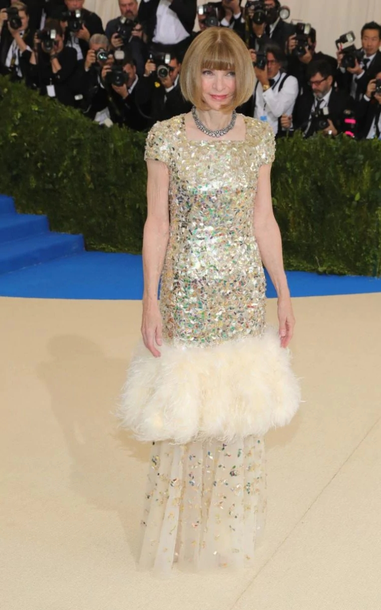 Anna Wintour wearing a Chanel gown at the Met Gala CREDIT GETTY